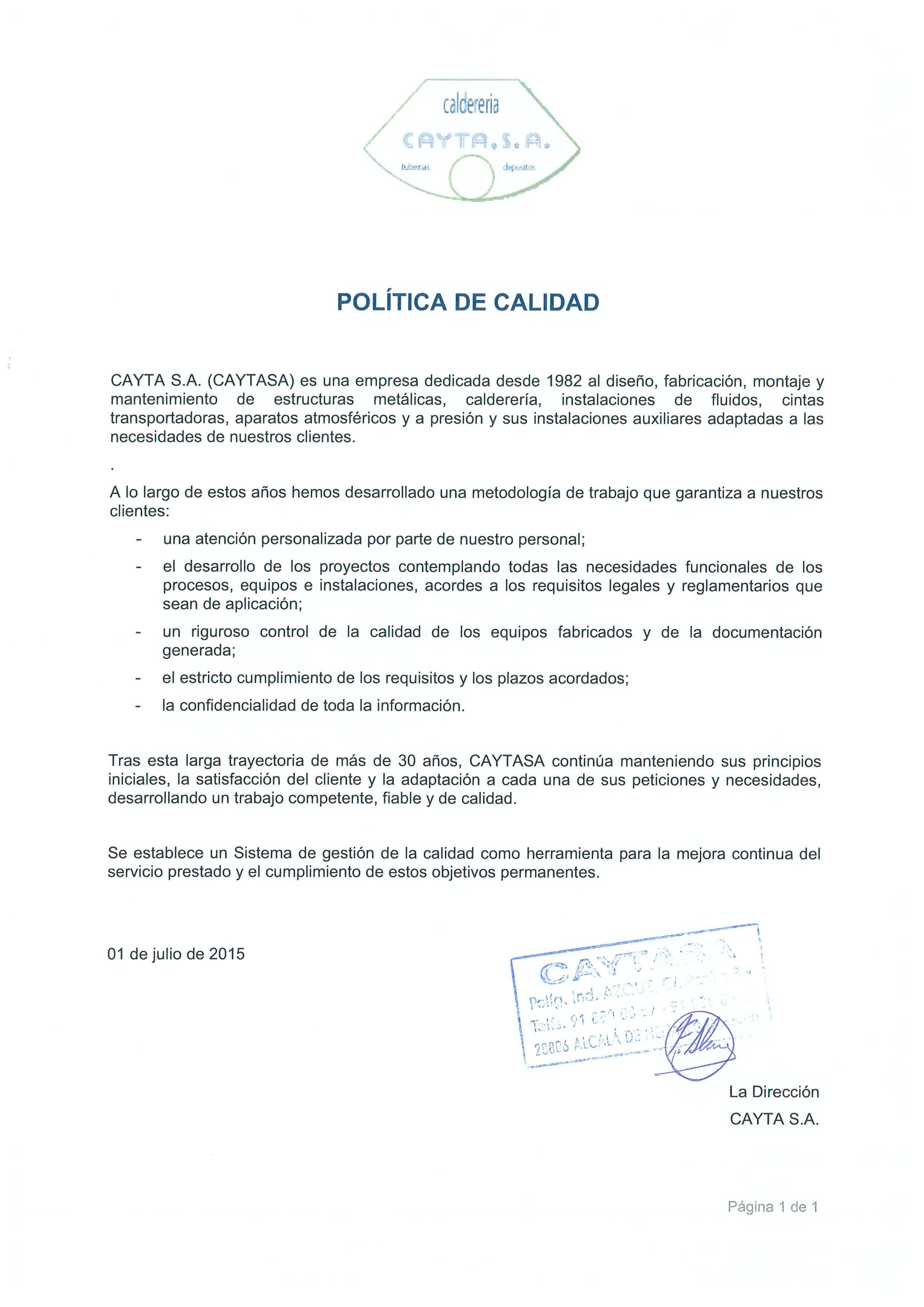 CAYTASA - Política de calidad