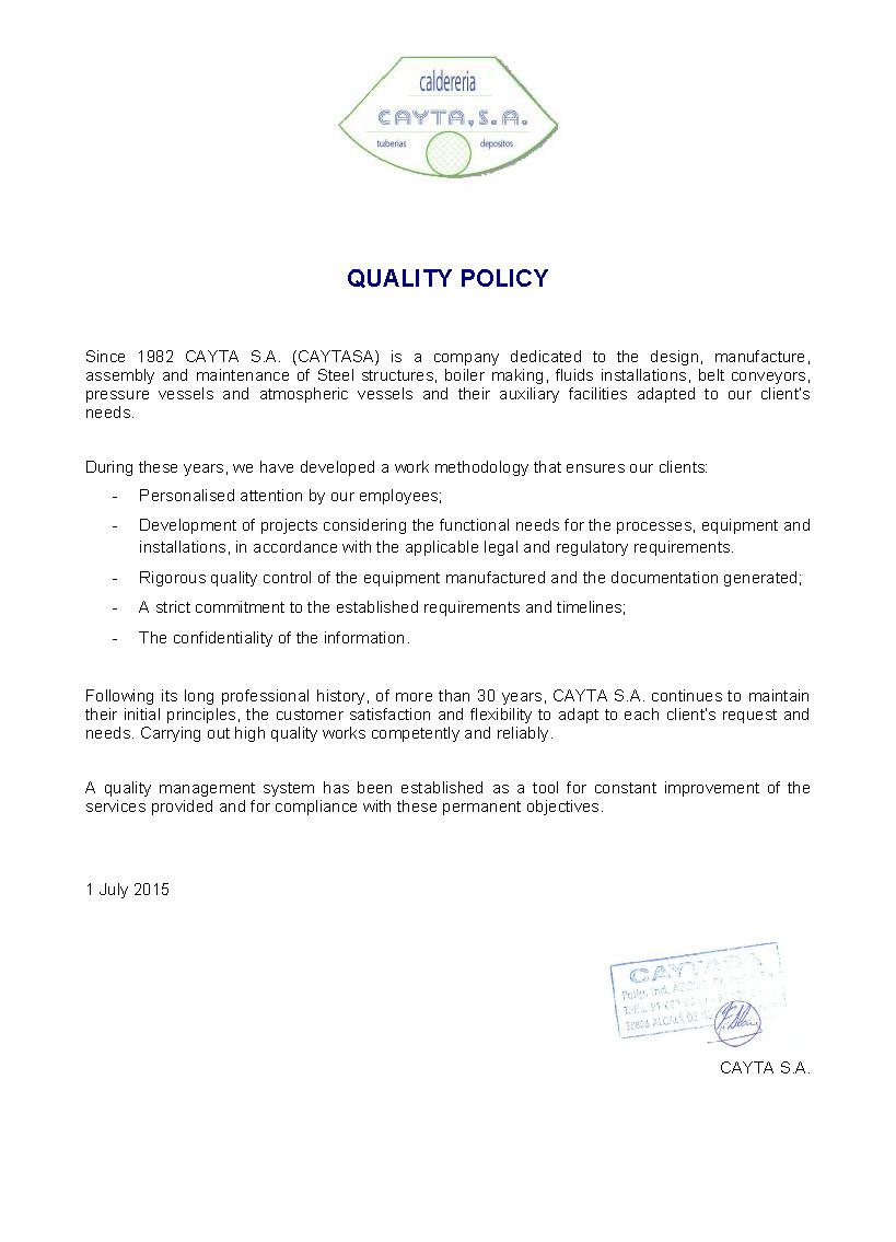 CAYTASA - Política de calidad 2015_ENG