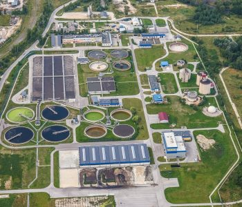treatment plant wastewater, refinery, aerial photo